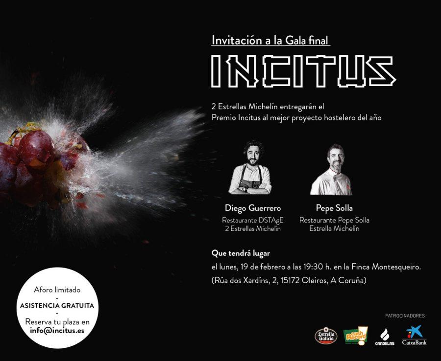 Diego Guerrero y Pepe Solla entregarán el 3º Premio Incitus